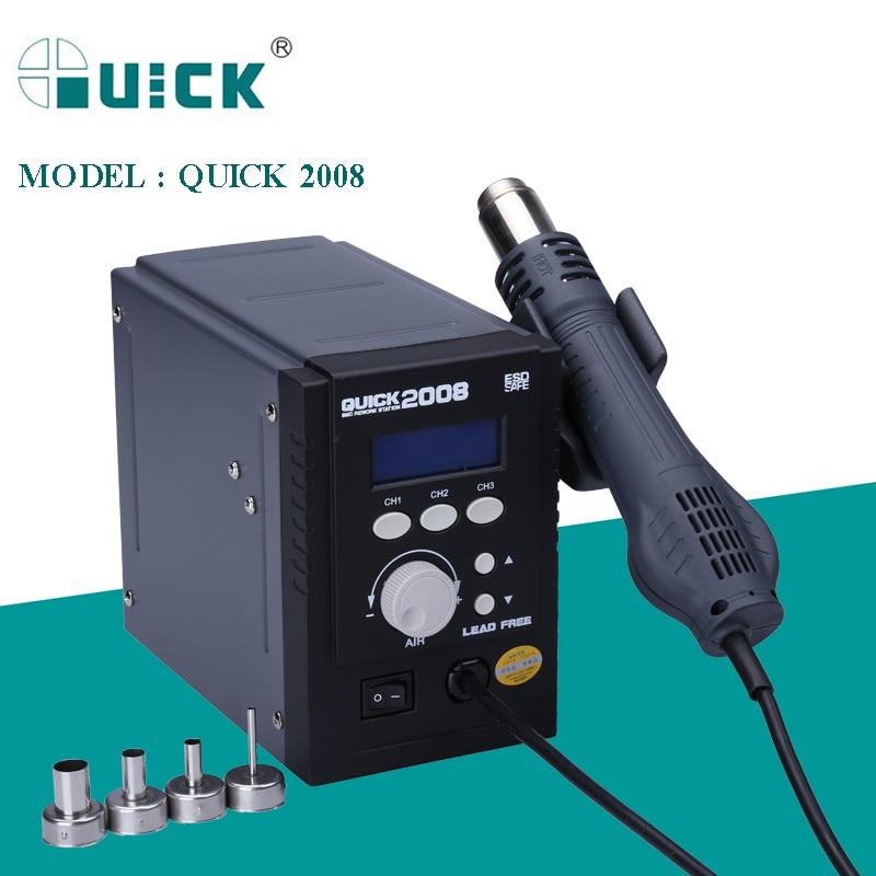 QUICK 2008 110V 220V Lead-Free Hot Air Soldering Station 700W ESD Safe Heat Gun BGA Welding Desoldering SMD Rework Station Tools