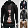 2015 nuevo tipo de trajes de hombre delgado con capucha moda hombres de la marca de traje de moda traje chaqueta
