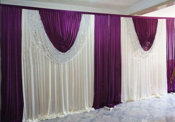 3m 6m white and purple swags with sequin white wedding backdrop stage curtains sparking wedding decoration