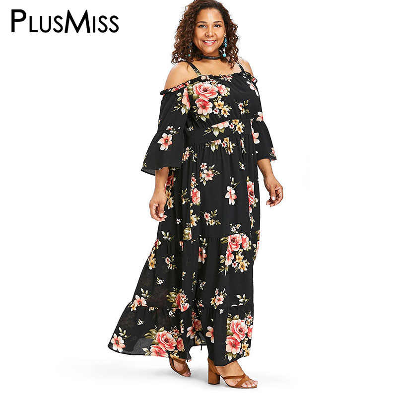 aa1727e4f0195 PlusMiss Plus Size 5XL XXXXL XXXL Floral Flower Print Dress Women Big Size  Loose Boho Sexy