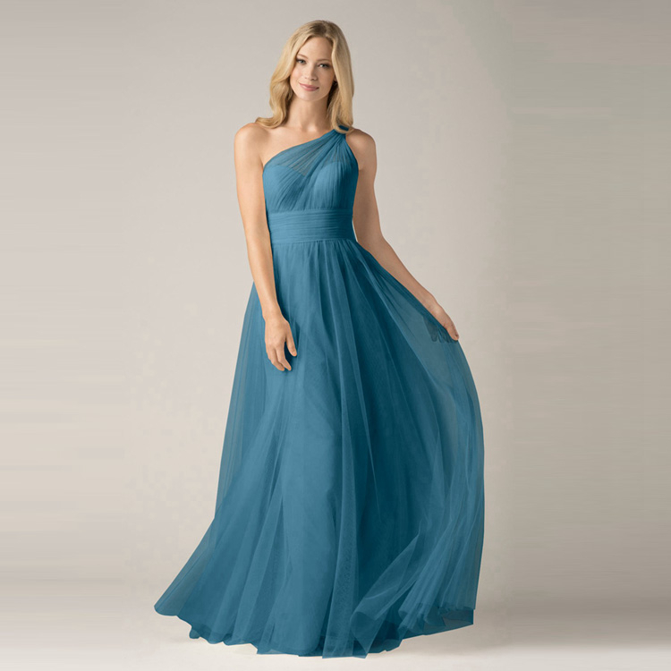 Ink blue tulle cheap one shoulder bridesmaid dresses long for Long wedding dresses under 100