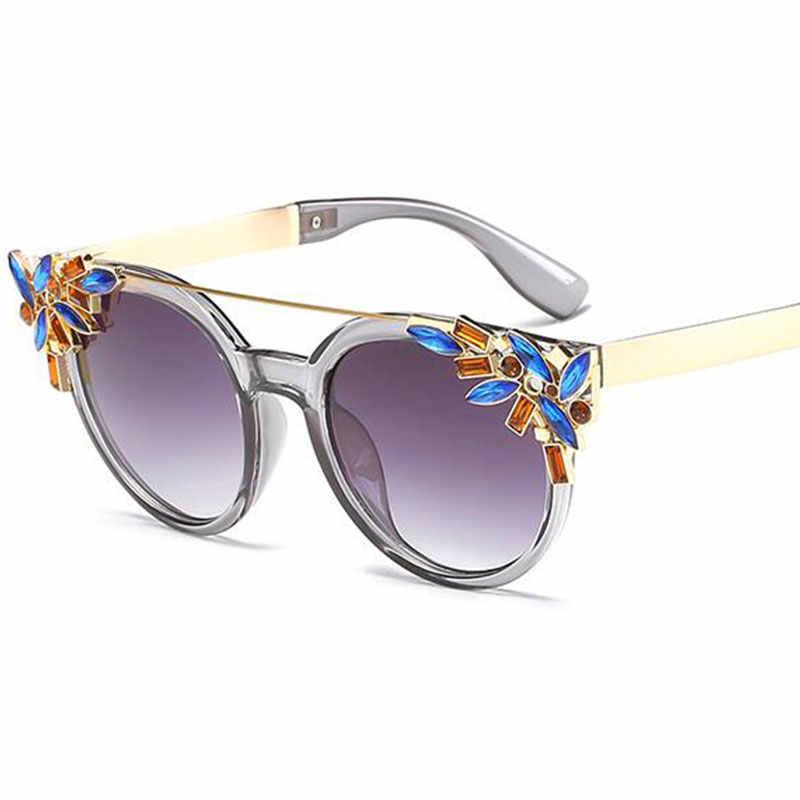 Фото Новые цветные винтажные большие солнцезащитные очки со стразами женские ретро с