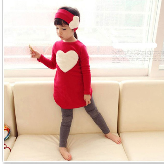 Spring Autumn Children's Clothing Long Sleeve Girl Suits Loving Heart Valentine Gift 3pcs Tops+Pants+Hair Band for 3-8 Years