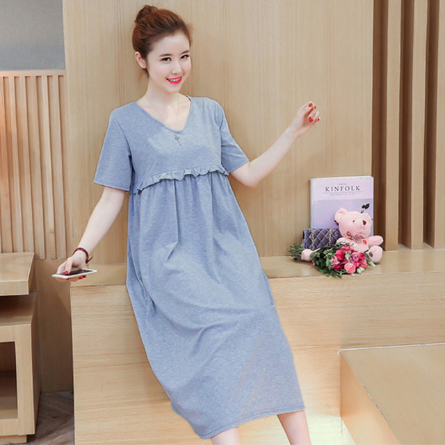 a9f2107e60710 Korean Long Grey Maternity Nursing Dress Cotton Summer Breast Feeding  Dresses Clothes For Pregnant Pregnancy Nurse Wear Clothing