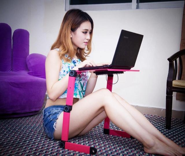 Um super fã de refrigeração 360 rolando mesa suporte para notebook suporte Dobrável Portalbe mesa portátil para a cama com o mouse pad SE27
