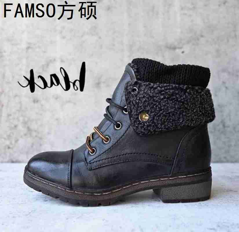 FAMSO 2019 Shoes Heels Women Snow Boots Size 34 43 Equestrian Classics Western Boots Winter Fur