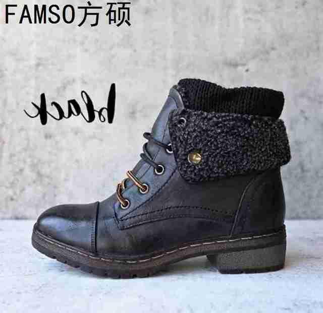 FAMSO 2019 Shoes Heels Women Snow Boots Size 34-43 Equestrian Classics Western Boots Winter Fur Waterproof Martin Boots Heels