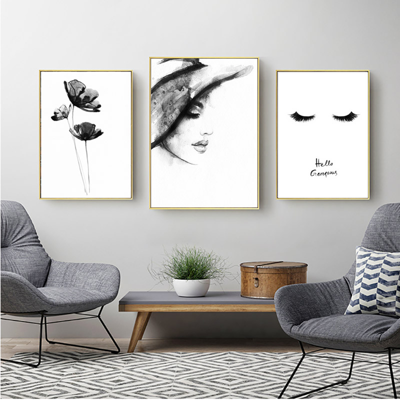 Wall Art Nordic Poster Minimalist Abstract Painting Black And White Posters And Prints Home Decor Decorative Pictures Unframed