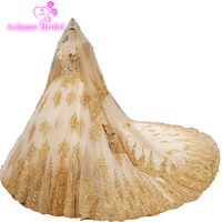 Luxurious Champagne Gold Muslim Embroidery V Neck Royal Tail Full Beading Crystals Top Wedding Dress With Long Veil High Quality