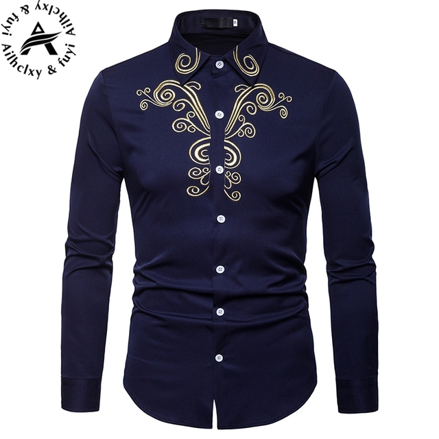 f7fb9420c4cb embroidery Shirt Men 2018 Satin Smooth Men Grid Shirt Business Chemise  Homme Casual Slim Fit Shiny Dress Shirts