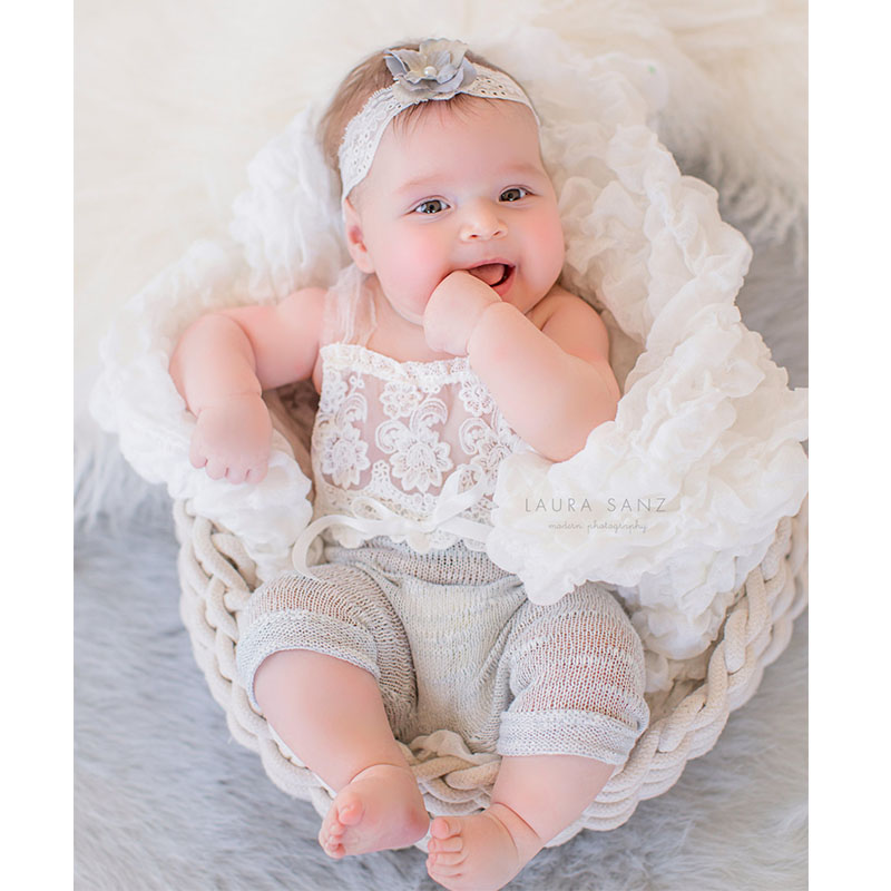 2017 Handmake 6 months Baby Sitter   Romper   Sitter Newborn Photography Props Overalls Lace   Romper   Back Tie Girls Outfit Baby Gift