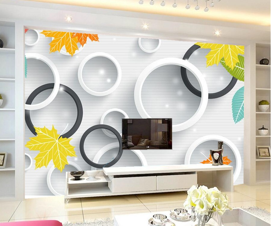 Custom large murals,Fresh and elegant modern 3D circle leaves wallpaper,living room sofa tv wall  bedroom wall papers home decor customize leaves blue sky and white clouds 3d ceiling murals wallpaper living room bedroom