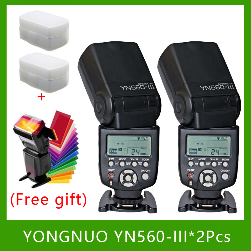 2 PCS YongNuo YN560-III YN560III Flash Speedlite Flashlight for Canon Nikon 2 pcs yongnuo yn560 iii yn560iii flash speedlite flashlight for canon nikon