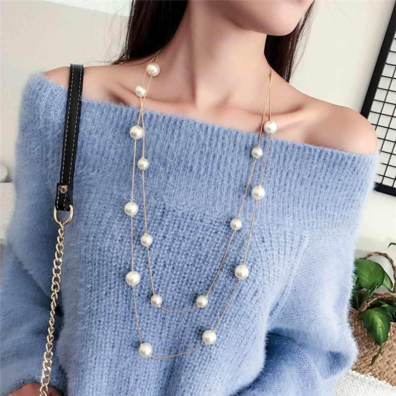 Long Double Layer Simulated Pearls Necklaces Collares Clavicle Fashion Jewelry Sweater Chain Collar Collier For Women R5(China)