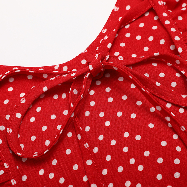 Summer Spaghetti Strap Sexy Dress Red Polka Dot Backless Women Party Dresses