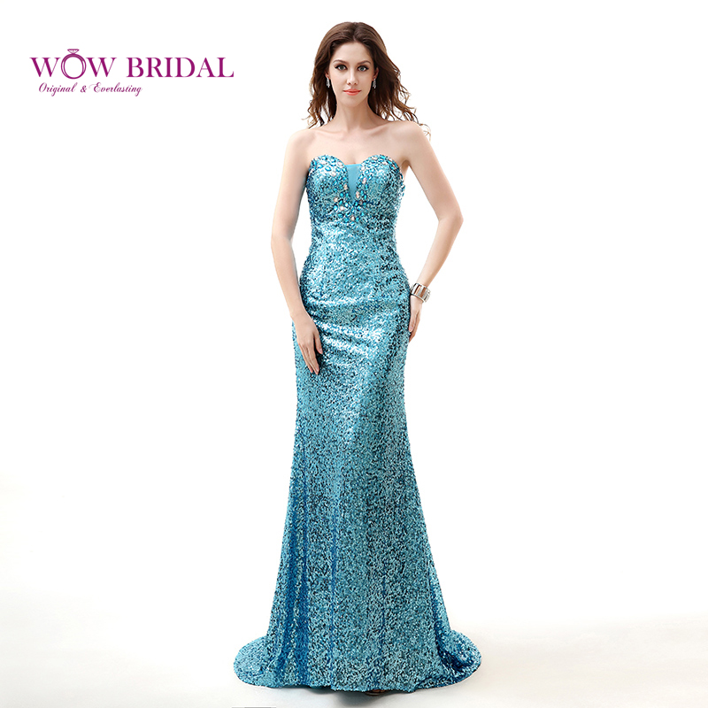 2ebe4ecb89f Wowbridal Sparkly Gorgeous Long Prom Dress 2015 Sweetheart Strapless  Crystal Beaded Sequined Sweep Train Mermaid Women