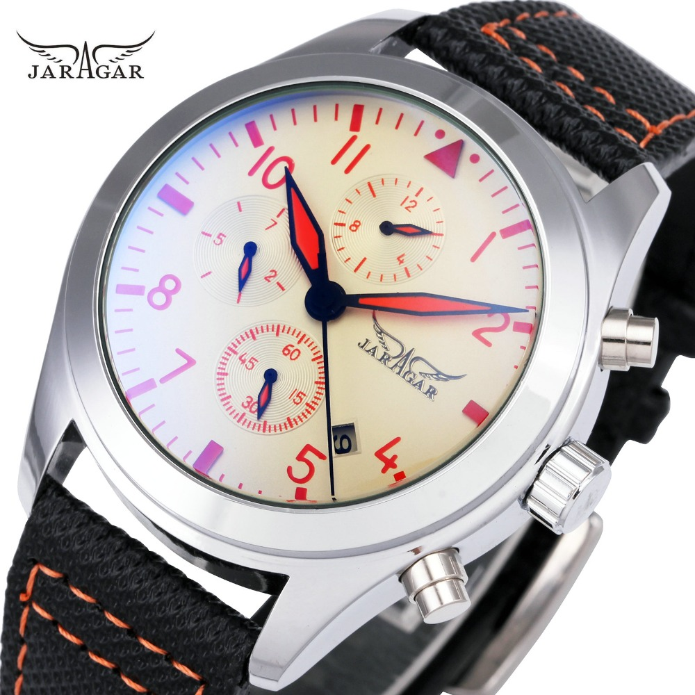все цены на JARAGAR Fashion Men Mechanical Watches Working Small Sub-dials Top Brand Luxury Calendar Automatic Wrist Watches Leather Strap онлайн
