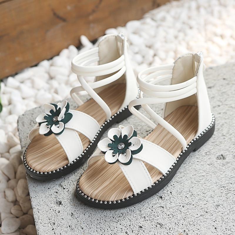 New Summer Kids Shoes Fashion Elegant  Roman Shoes Flower Princess Children Sandals Summer Girls Sandals