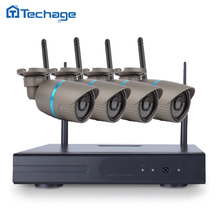 Techage 4CH 720 P HD Extérieure IR Vision Nocturne de Surveillance Vidéo de Sécurité 4 pcs Caméra IP WIFI CCTV Système Sans Fil NVR Kit 1 TB HDD