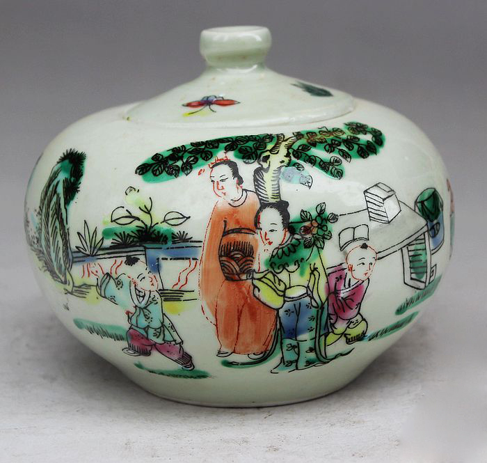 Exquisite Chinese Antique Imitation Porcelain Auspicious Patterns Jar / Pot, Painted with Ancient China Family serveware