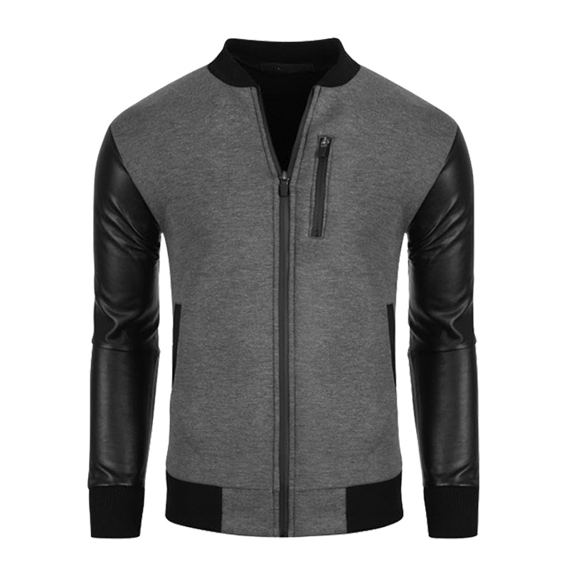 2017 Bomber Jacket Men Unique Fashion Pu Leather Sleeve Splice ...