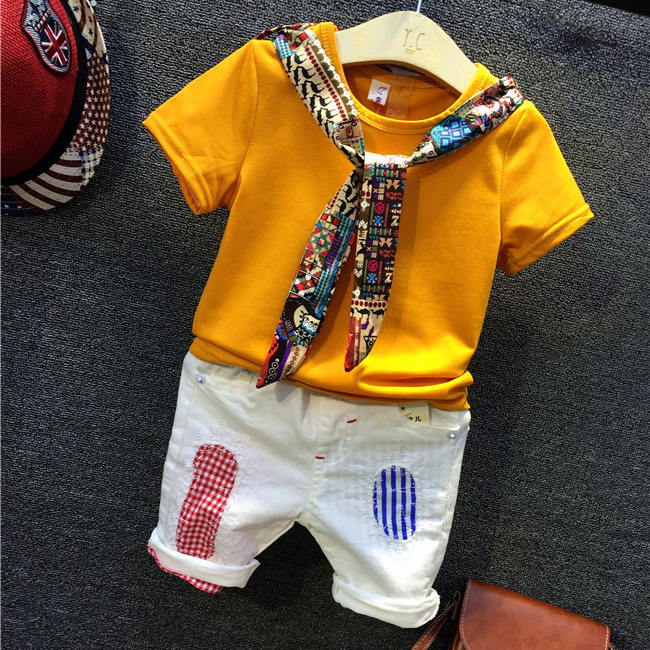 Kids boys girls clothing set baby boy girl yellow t shirt and white patchwork all match short 2pcs children casual clothes 2-7T 2015 new autumn winter warm boys girls suit children s sets baby boys hooded clothing set girl kids sets sweatshirts and pant