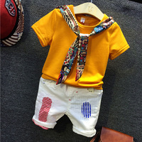 Kids boys girls clothing set baby boy girl yellow t shirt and white patchwork all match short 2pcs children casual clothes 2-7T