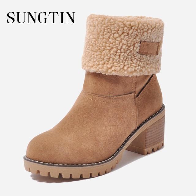 Sungtin Phụ Nữ Thời Trang Mắt Cá Chân Ấm Áp Tuyết Khởi Động Mùa Đông Lông Khởi Động Ngắn Nữ Da Lộn Sang Trọng Chunky Giữa Gót Chân Vòng Toe Booties giày