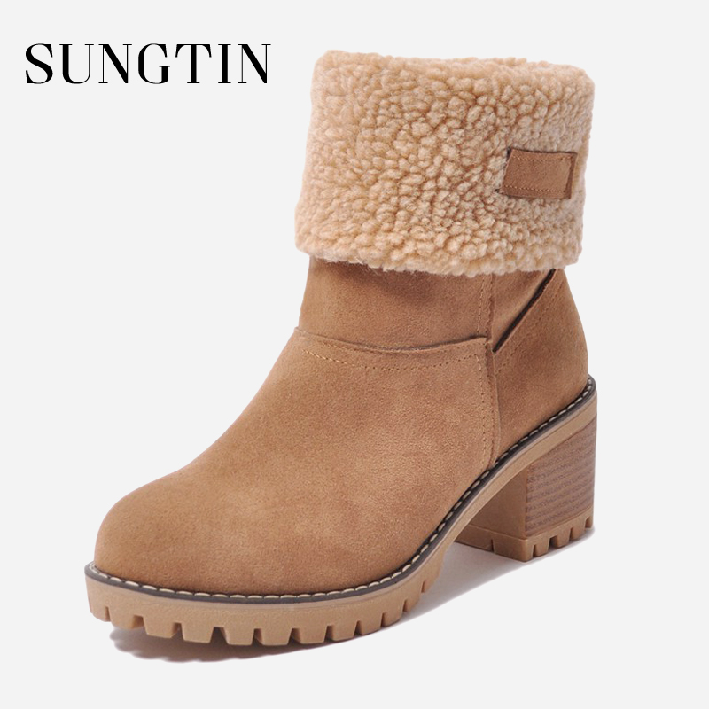 Sungtin Women Fashion Warm Ankle Snow Boots Winter Fur Short Boots Ladies Plush Suede Chunky Mid Heel Round Toe Booties Shoes-in Ankle Boots from Shoes on Aliexpresscom  Alibaba Group