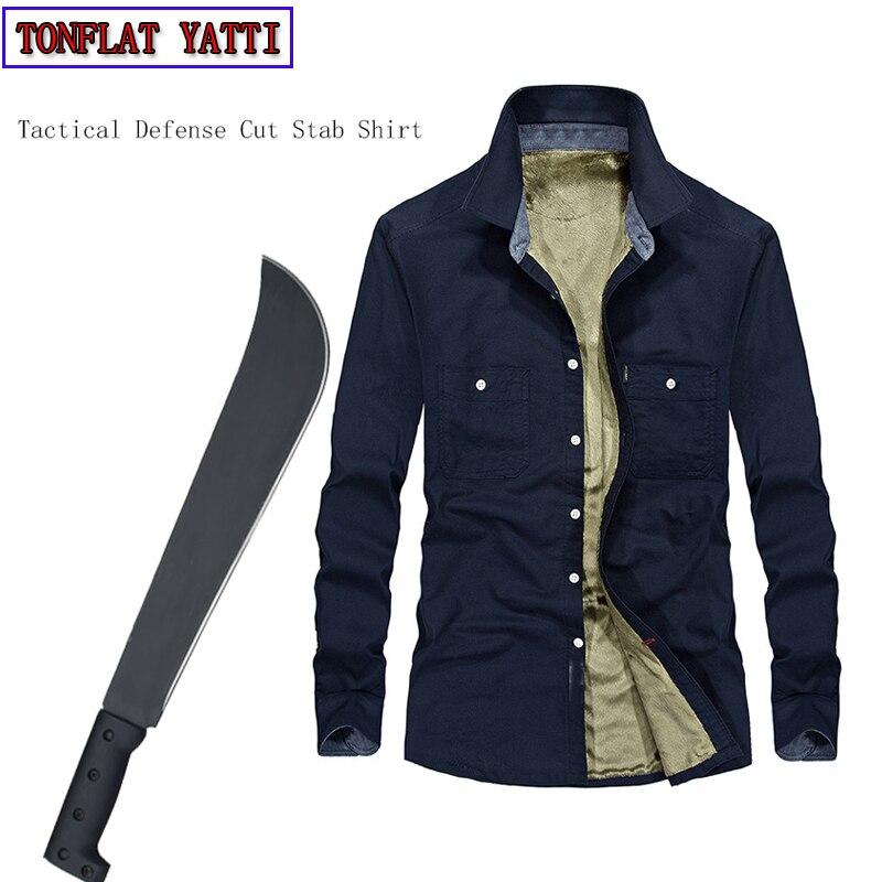 Tático Anti-corte Anti-Facada Auto-Defesa de Longo-Sleeved Camisa Além de Veludo Quente Invisível Corte Resistente roupas Covert Stab 3XL