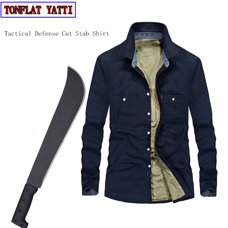 все цены на Tactical Anti-cut Anti-Stab Self-Defense Long-Sleeved Shirt Plus Velvet Warm Invisible Cut Resistant Clothing Covert Stab 3XL