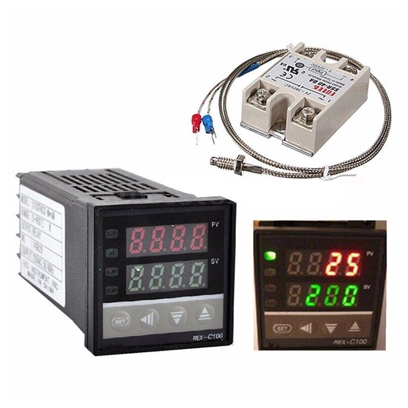 LIXF Neue Stil Digitale 220 v PID REX-C100 Temperatur Controller + max.40A SSR + K Thermoelement, PID Controller Set + Kühlkörper