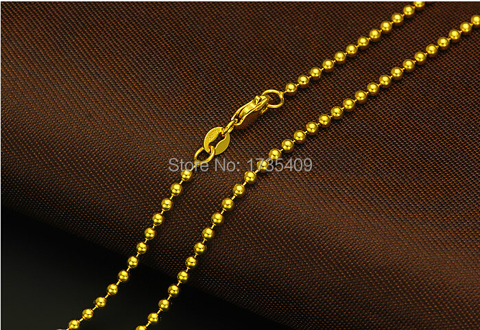 Authentique italie design solide or jaune collier chaîne perles lisses chaîne 7.34g