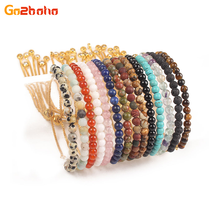 Go2boho 4mm beads bracelet mini natural stone gold chain Minimalist Bracelet women