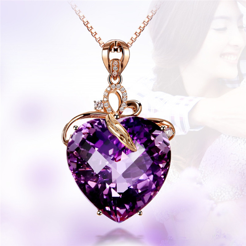 Romad Heart Shape CZ Purple Crystal Pendant Necklace Choker for Women Girls Rose Gold Statement Necklace of Valentines Gifts