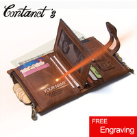 Vintage Genuine Cow Leather Men Wallet Fashion Coin Pocket Zipper Hasp Organizer Wallects High Quality Male