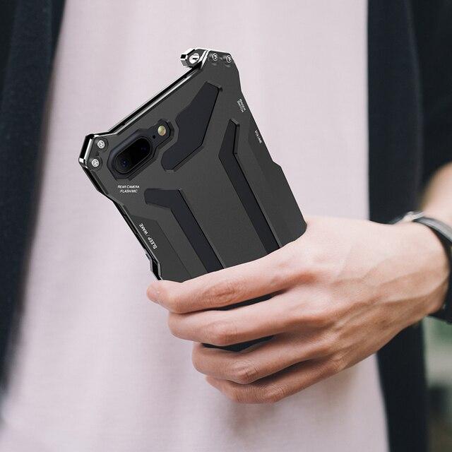 R JUST Gundam metalowy zderzak skrzynka dla iPhone 7, odporna na wstrząsy najwyższej jakości na zewnątrz etui na iPhonea 7 Plus pancerz powłoka aluminiowa przypadku