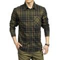 AFS JEEP Large Size M - 3XL  Spring Men's Casual Brand Plaid Long Sleeve Shirts Man Autumn Cotton Shirt  70