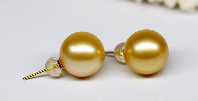 gorgeous a pair 10.5-11.5mm AAA south sea round gold pearl stud earrings18kgorgeous a pair 10.5-11.5mm AAA south sea round gold pearl stud earrings18k