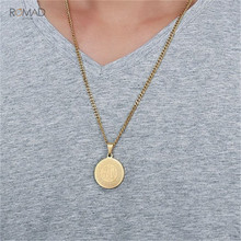 Romad Gold Necklace Round Shaped Stainless Steel Necklace For Women Men Prayer Jewelry недорого