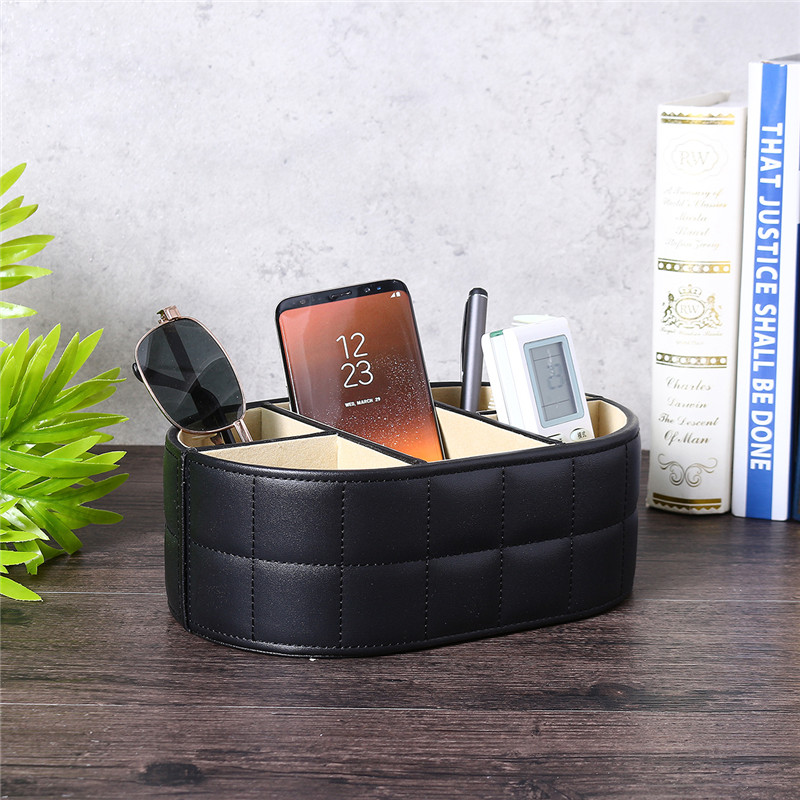Living Room Table Organizer TV Remote Control Storage Box Functional Leather Boxes Storage Phone Key Pen Glasses Stand Holder
