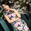 2016 New Fashion Summer Silk Satin Cheongsams Short Sleeve Ankle-Length Mandarin Collar Chinese Style Evening Dresses