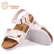 Floral Print  Sandals PVC Buckle Baby Girls Summer Princess Rome Shoes Baby Kids Cork Slipper Chaussure Enfant Fille