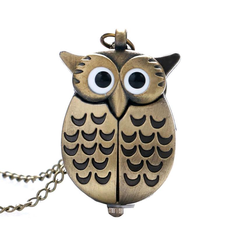 Bronze Night Owl Necklace Pendant Quartz Steampunk Pocket Watch Chain For Men Women P27