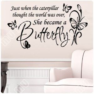 Large butterfly caterpillarwall decal little girls room for Nice white wall decal quotes