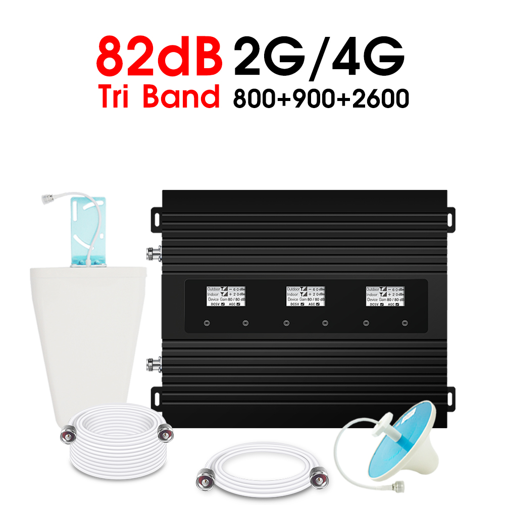 ATNJ 4G LTE 800 GSM 900 LTE 2600 MHz  Tri Band Signal Repeater GSM Amplifier 82dB Gain Band 7 Band 20 4G Booster Tri LCD Display
