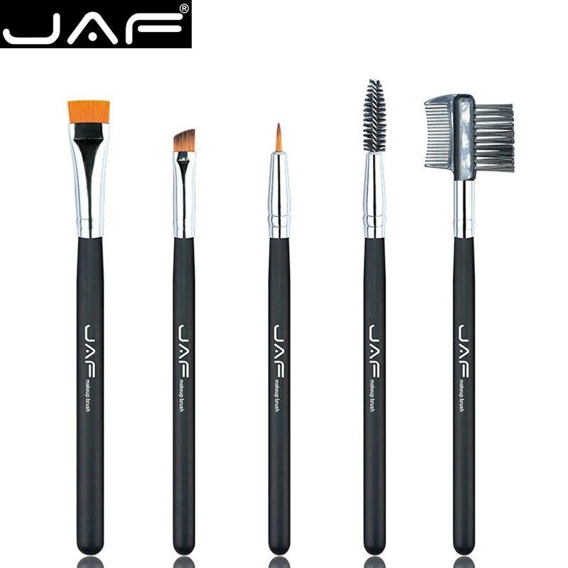 Розничная продажа, набор кистей для макияжа глаз JAF 100% Vegan, для подводки глаз, бровей, ресниц, синетическая щеточка для волос, расческа для волос, JE0501S-B, для вегана