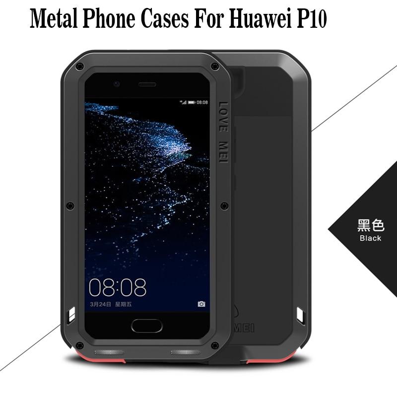 Huawei P10 Caso Poderoso amor Mei Gorilla Glass À Prova de Choque de Metal Caixa Do Telefone Para Huawei P10 Cheia Funda