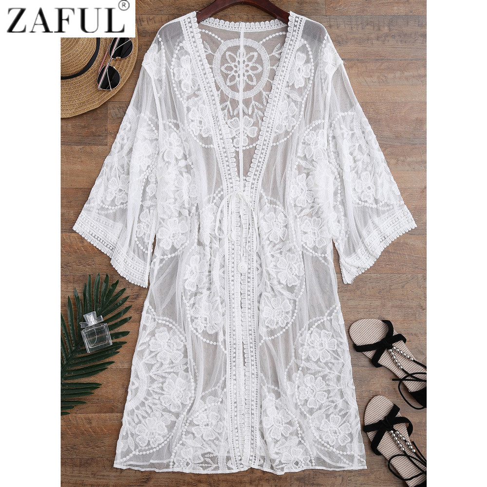 ZAFUL 2017 Embroidered Sheer Swimsuit Cover Up See through
