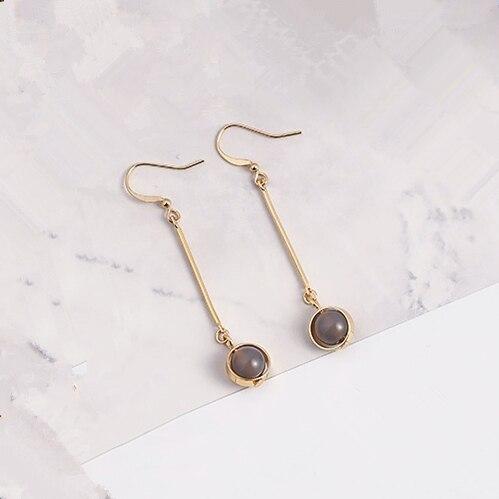 2017 New Vintage Earrings Handmade Grey Beads Long Chain Ball Earrings For Women
